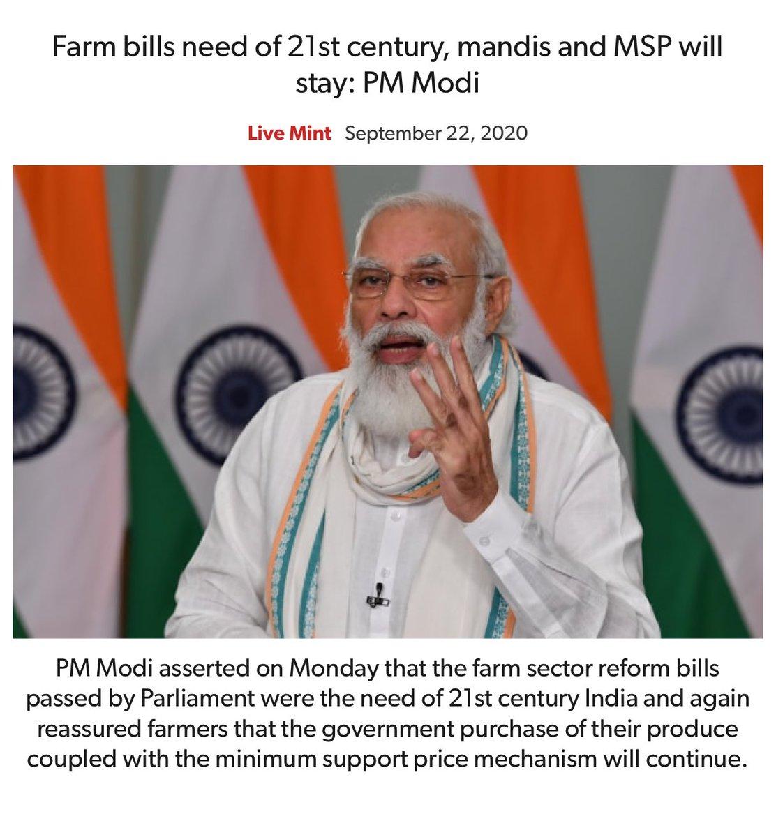 Farm bills need of 21st century, mandis and MSP will stay: PM Modi https://t.co/L0YXTJFFo4  via NaMo App https://t.co/6qlvzGQ9eM