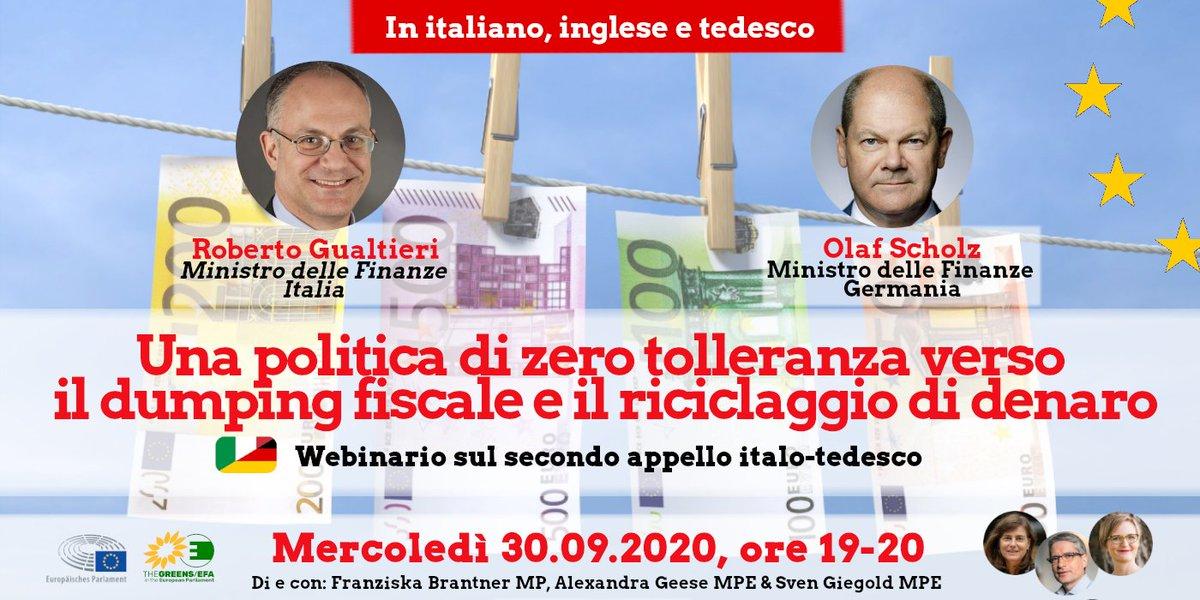 """🇮🇹 Nuovo Webinar """"Zero tolleranza verso il riciclaggio di denaro"""" con i ministri delle finanze 🇮🇹 @gualtierieurope e 🇩🇪 @OlafScholz 📌Mer 30.09, ore 19-20  Iscriviti qui: 👇https://t.co/gpgy7RTQYY   Il webinar sarà interpretato simultaneamente in 🇮🇹, 🇬🇧 e 🇩🇪. #WeAreInthisTogether https://t.co/DR2zYHW1t6"""