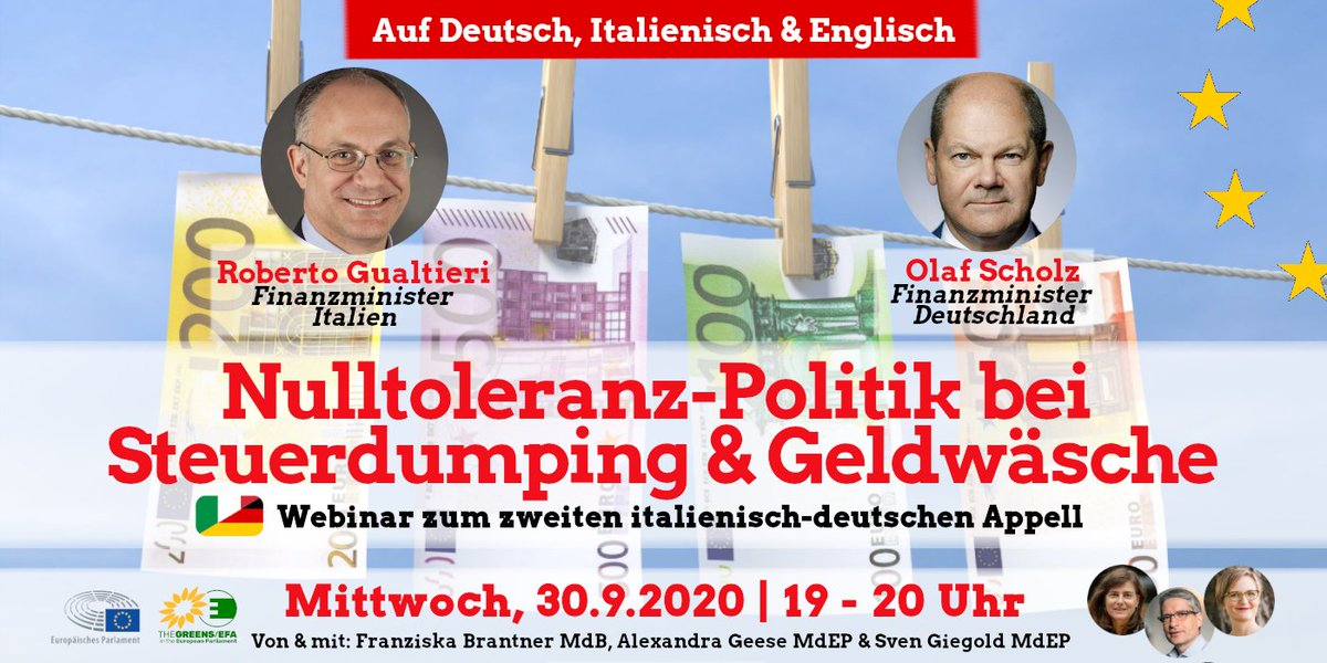 """📢New Webinar """"A zero tolerance policy on tax dumping & money laundering"""" with 🇮🇹 & 🇩🇪Finance Minister @gualtierieurope  and @OlafScholz  📌 Wed, 30/9, 7-8pm   Register here: https://t.co/gpgy7RTQYY  The webinar will be interpreted in 🇬🇧 🇮🇹🇩🇪 #WeAreInThisTogether https://t.co/98QGY8jxnC"""