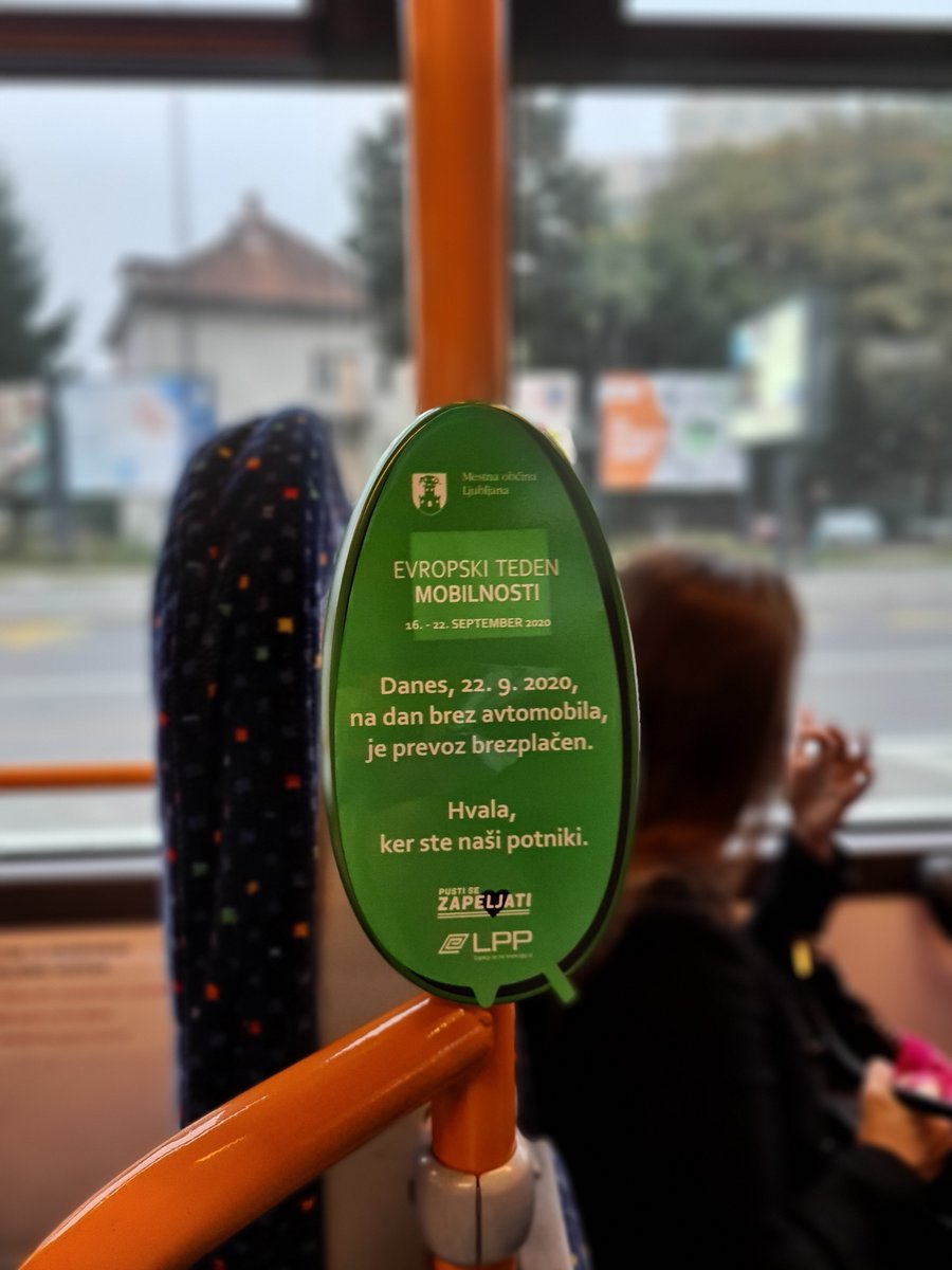 #CarFreeDay2020 as part of the last day of #EUMobilityWeek!  How did you travel to work or school today?  In Ljubljana, Slovenia, public city transport is free of charge for one day! 🥳 https://t.co/6G902U8hbT