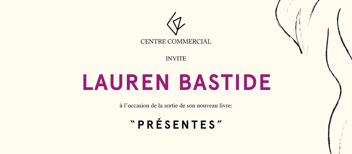 IT'S TOMORROW!! 🔥  Don't miss our event with Lauren Bastide!!  Wednesday 23rd of September 7pm -9pm Centre Commercial, 2 rue de Marseille  Follow the link for more infos: https://t.co/1CROC3m9nh  #event #livre #laurenbastide #centrecommercial https://t.co/MyIiw7S2fI