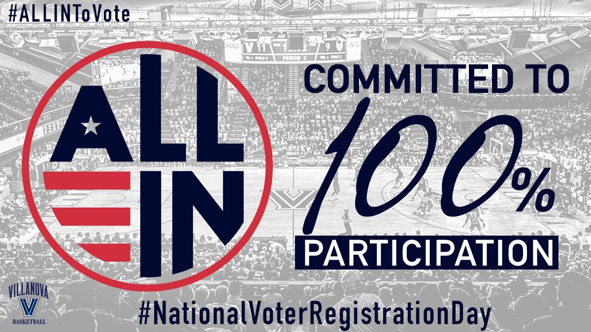 Today is National Voter Registration Day - Our staff and players are committed to 100% participation in the upcoming election . Let's all do our part as citizens and register to vote !#NationalVoterRegistrationDay #ALLINToVote #BEtheChange #athletesvote #WhenWeAllVote