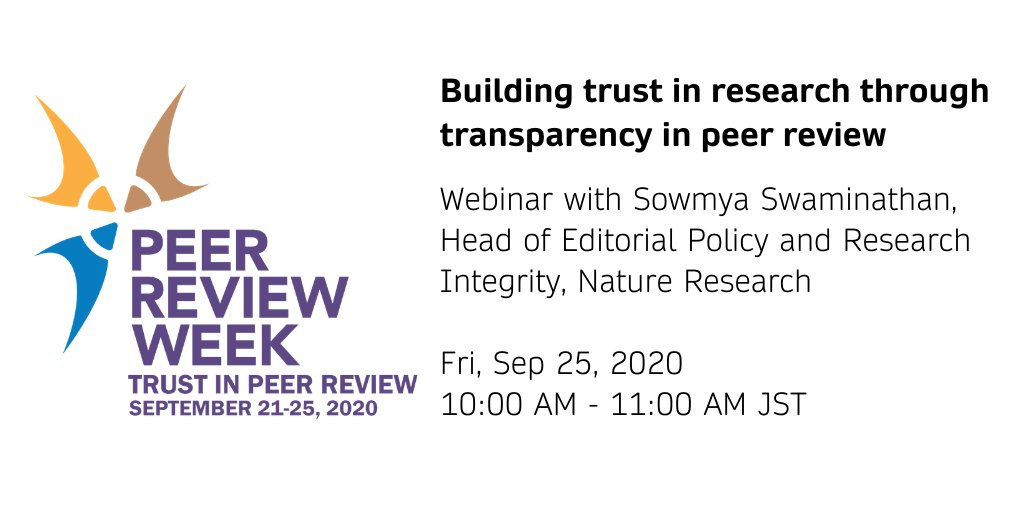 Calling researchers in the APAC region! Find out about transparent peer review and InReview from @SowmyaSwaminat1 in our upcoming webinar on Friday, September 25. Sign up here: https://t.co/55LwAYQp1e  #PeerRevWeek20 #TrustinPeerReview https://t.co/LGqehy7yOA