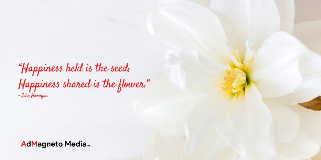 "#Happinesss #held is the #seed; Happiness #shared is the #flower.""   – #JohnHarrigan  #AdMagnetoMedia #DigitalBrandConsultants #DigitalMediaAgency #flowers #positivity #mindfulness #sharingiscaring #sharehappiness #plantatreechallenge https://t.co/RALi5z2Fvj"