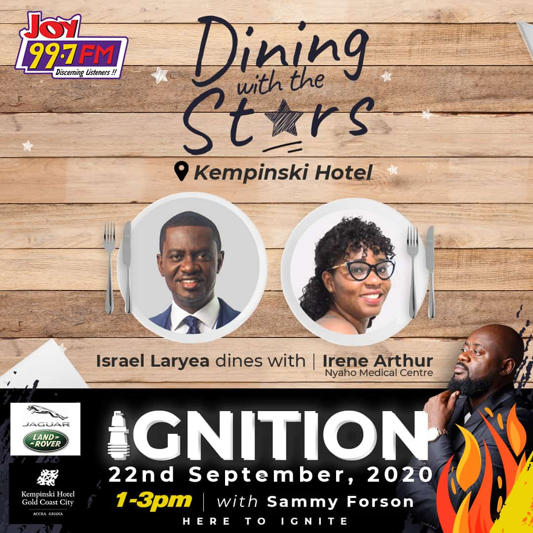Today on Ignition @TheIsraelLaryea dines with Irene Arthur at @kempinskiACC.  Don't forget to tune in to Ignition with @sammyforson from 1-3lm. #Ignition https://t.co/7K4k2Hy1MF
