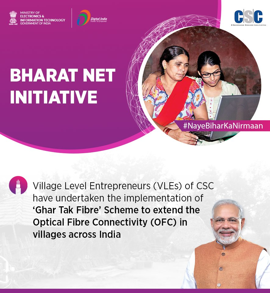 Hon'ble PM Shri @narendramodi inaugurated the '#GharTakFibre' project in Bihar with a vision to increase the accessibility of internet, which is further undertaken by @CSCegov_ to facilitate in extending the optical fiber connectivity (OFC) in villages. #NayeBiharKaNirmaan https://t.co/W6ODplMMsR