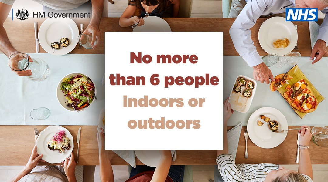 Remember the rule of 6.   You must not meet any socially in a group of 6 people, indoors or outdoors.   You should continue to maintain social distancing with anyone you do not live with.  For more info➡️ https://t.co/2YMrd2QEws https://t.co/O3oG1d3w6U