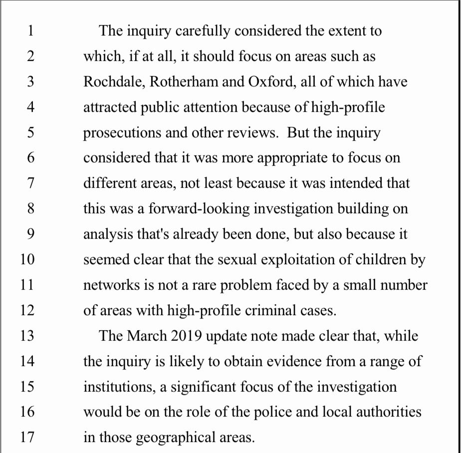 "@MaggieOliverUK The reason given by the inquiry not to focus on Rochdale, Rotherham and Oxford below. In Maggie's statement it says she feels that the inquiry has ""omitted a crucial part of the evidence and failed to call crucial witnesses"" This should be headline news. https://t.co/BpwUttRCFe"