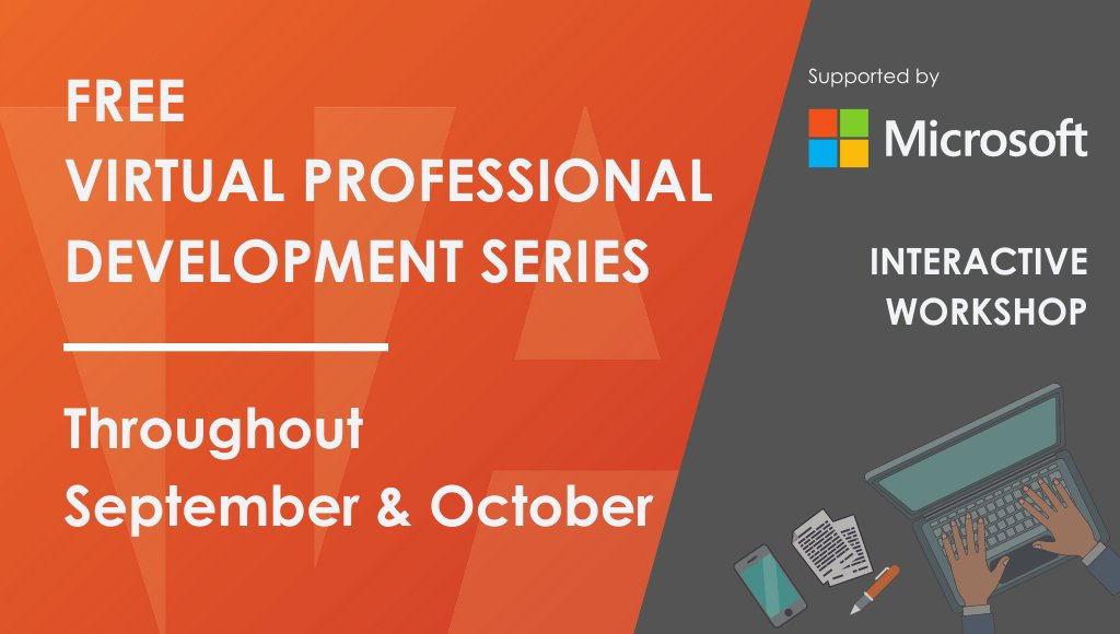 Our next round of FREE @microsoftEDU online training events start on the 28th Sept, kicking off with Using @MicrosoftTeams & wider tools to save time & improve productivity.   See the full range of topics here:  https://t.co/mvTbdx2gcN  #MicrosoftEDU #MIEExpert @MSEducationUK https://t.co/dBjF9uEuk4