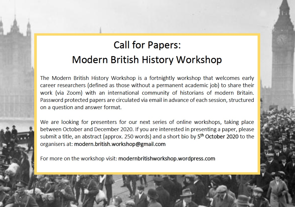 We are welcoming abstracts for our next series of workshops, which will restart Wednesday 14th October. See CfP for more details.