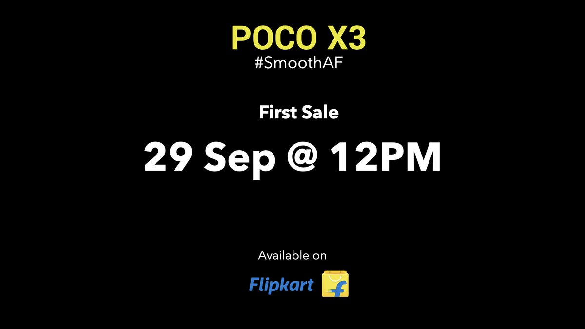 Are you Xcited to Xperience the smoothness? If yes, then the first ever sale for the #POCOX3 commences on the 29th September at 12PM on @Flipkart.  RT & tell us in the comments if you're going to buy one. https://t.co/NSanN8k8h5