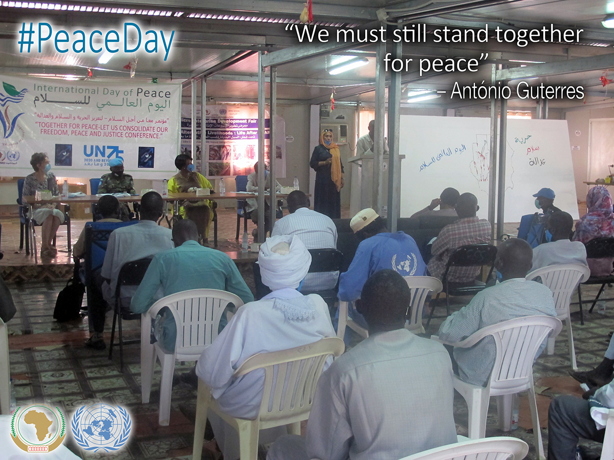 "#PhotoOfTheDay #UNAMID celebrated the International Day of Peace Day with the conduct of the ""Together for Peace -Let us Consolidate Our Freedom, Peace and Justice"" Conferences simultaneously held in El Fasher, north Darfur and at the Mission's HQ in Zalingei, central Darfur. https://t.co/hA9yGeFssc"