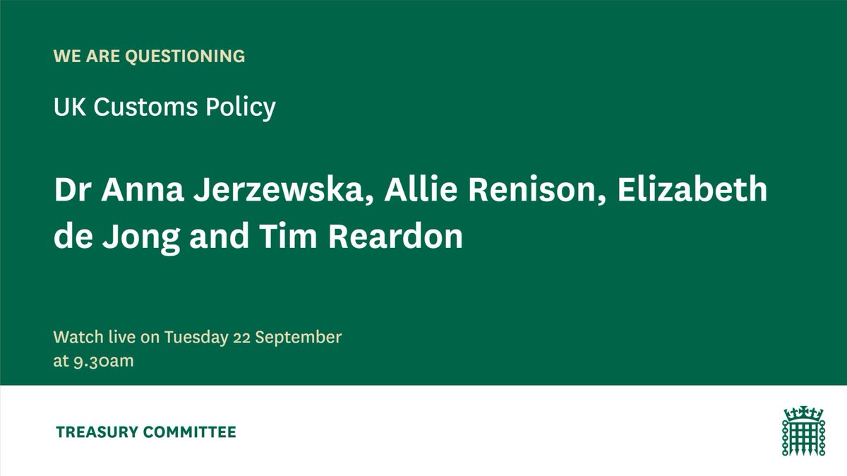 ⌛️30 minutes to go until our evidence session on UK customs policy.  We'll hear from:  ✅@AnnaJerzewska ✅@AllieRenison ✅@Eliz_de_Jong ✅Tim Reardon (@Port_of_Dover)  📺Watch it live at 9.30am here👇  https://t.co/zttN11JCV8 https://t.co/fADpBtmiqx