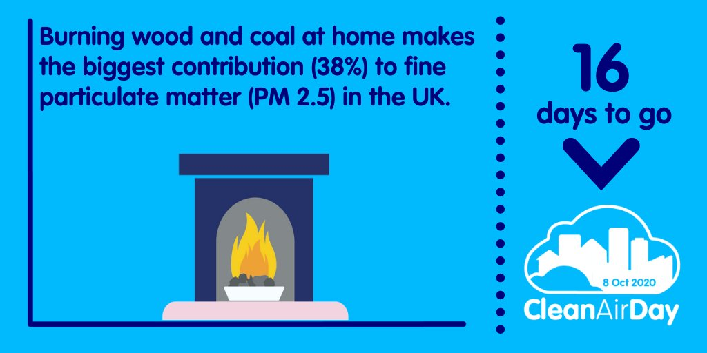 16 days to go ⏳! Did you know burning wood and coal at home makes the biggest contribution (38%) to fine particulate matter (PM 2.5) in the UK. #CleanAirDay https://t.co/oKPrRCLLjX
