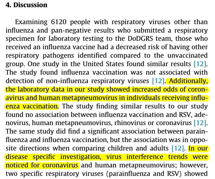Etude US (Jan 20) intéressante sur les interférences entre les virus respiratoires et la vaccination contre la grippe  Conclusion La vaccination protège bien de la plupart des virus grippaux mais elle augmente de 36% la proba d'infection par un coronavirus https://t.co/qjMbDeVu4E https://t.co/yB2TxZoUN8