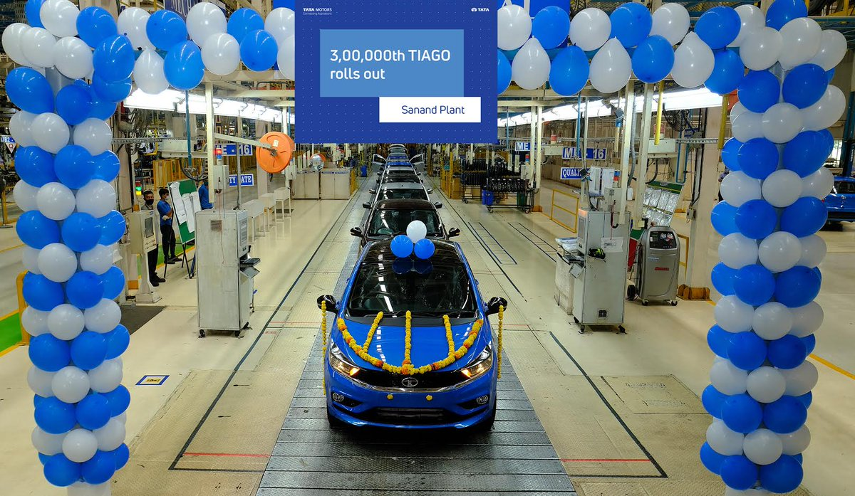 Tata Motors drives out the 3,00,000th Tiago from its Sanand plant