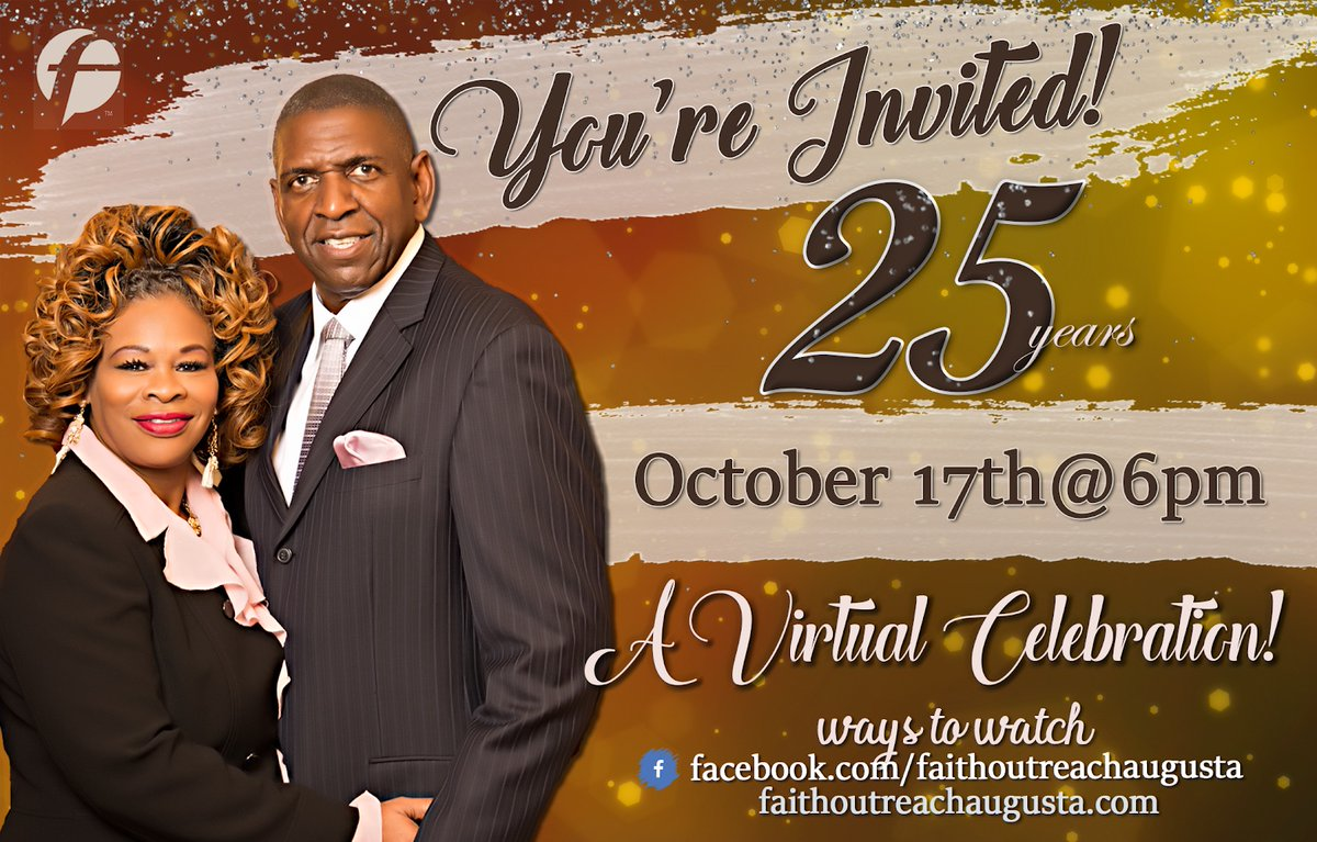 It's a #CELEBRATION!! Faith Outreach will be celebrating its 25th #Church #Anniversary! Join IN PERSON or #VIRTUALLY. #Saturday, Oct 17 at 6PM and #Sunday, #Oct 19 at 10AM, South Campus. Combined service that Sunday. See you there!!! #saverhedate #tagafriend #inperson https://t.co/Tedm0FtYF2