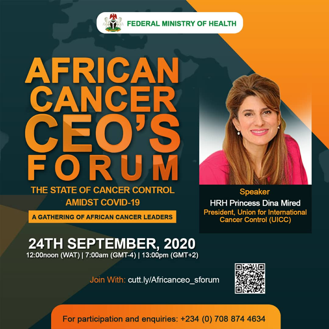 Looking forward to joining the African Cancer CEO's Forum on Thursday, Sept 24, 2020, to discuss 'The State of Cancer Control Amidst Covid-19'  Register here https://t.co/RbjSF5chV8  @DrZSB @DrNonoSimelela @DrEOEhanire @uicc @AORTIC_AFRICA #AfricanCancerCEOs #COVID19 https://t.co/uUau7L2Ipn