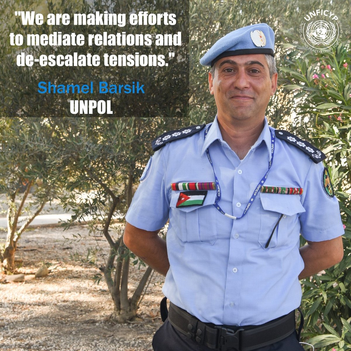 Meet Shamel, one of our @UNPOL officers from Jordan, who is working in Sector One and how his role is contributing to peace in #Cyprus. His full interview is on #BlueBeret magazine: https://t.co/7yLlCRungV #A4P #Serving4Peace https://t.co/Ur4K83ywih