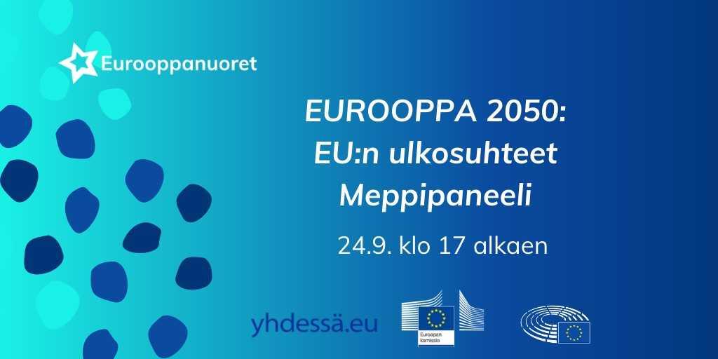 Tänään kello 17: liity mukaan keskustelemaan EU:n ulkosuhteista! Mikä on Euroopan asema muuttuvassa maailmassa?   Mukana keskustelemassa @HennaVirkkunen @miapetrakumpula @ElsiKatainen sekä @Eurooppanuoret!  Lue lisää ja osallistu! 👉🏼 https://t.co/BtLIq7SoyW  #Eurooppa2050 https://t.co/DkRZMy30hV