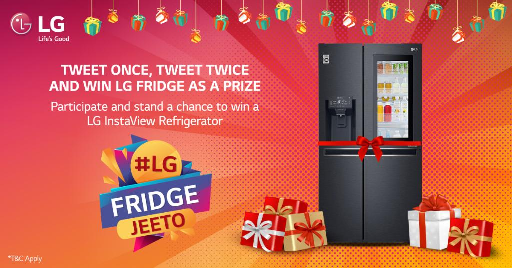 "It's Contest time with #LG. Participate in #LGFridgeJeeto Contest & Tweet with a picture of any Refrigerator Brand Ad & tell us ""Why you love LG?"" The more you tweet,the more chances for you to win a #LG #Refrigerator. For details, read T&C https://t.co/rAcsbomSlx #LGContestAlert https://t.co/Q9ftxtN8Hi"