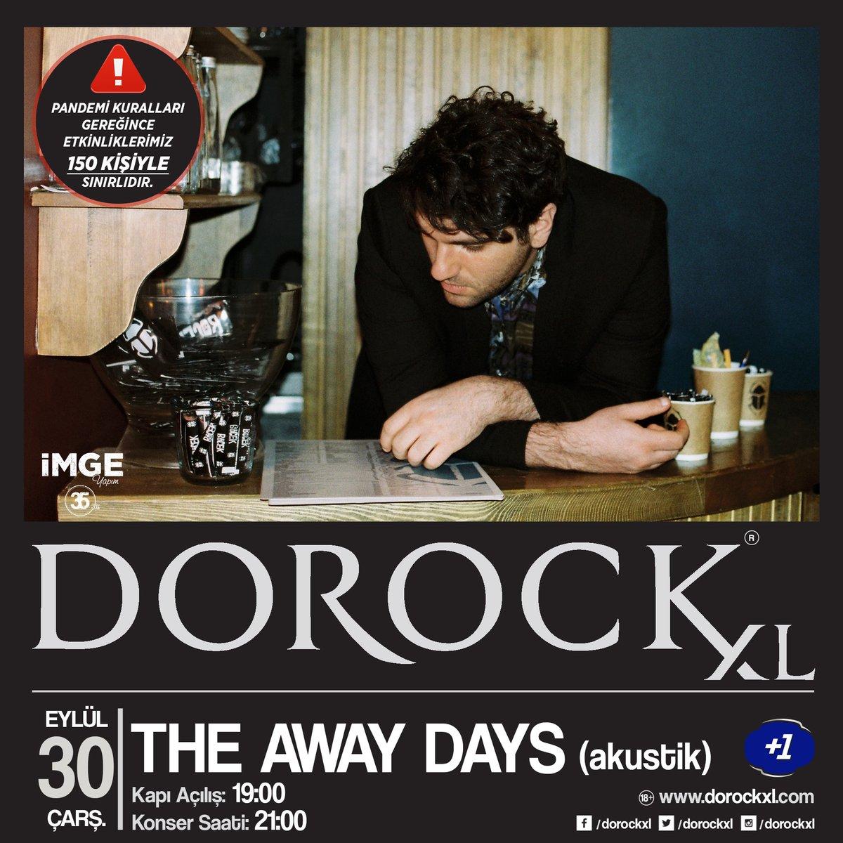 The Away Days, akustik performansıyla 30 Eylül Çarşamba saat 21:00'de Dorock XL'ta! Sınırlı sayıda biletler Biletix ve Dorock XL gişelerinde.   ⚠️ Pandemi kuralları gereğince etkinliklerimiz 150 kişiyle sınırlıdır.   #DorockXL #DorockXLKadıköy #TheAwayDays #artıbir https://t.co/86Ex09UtEn