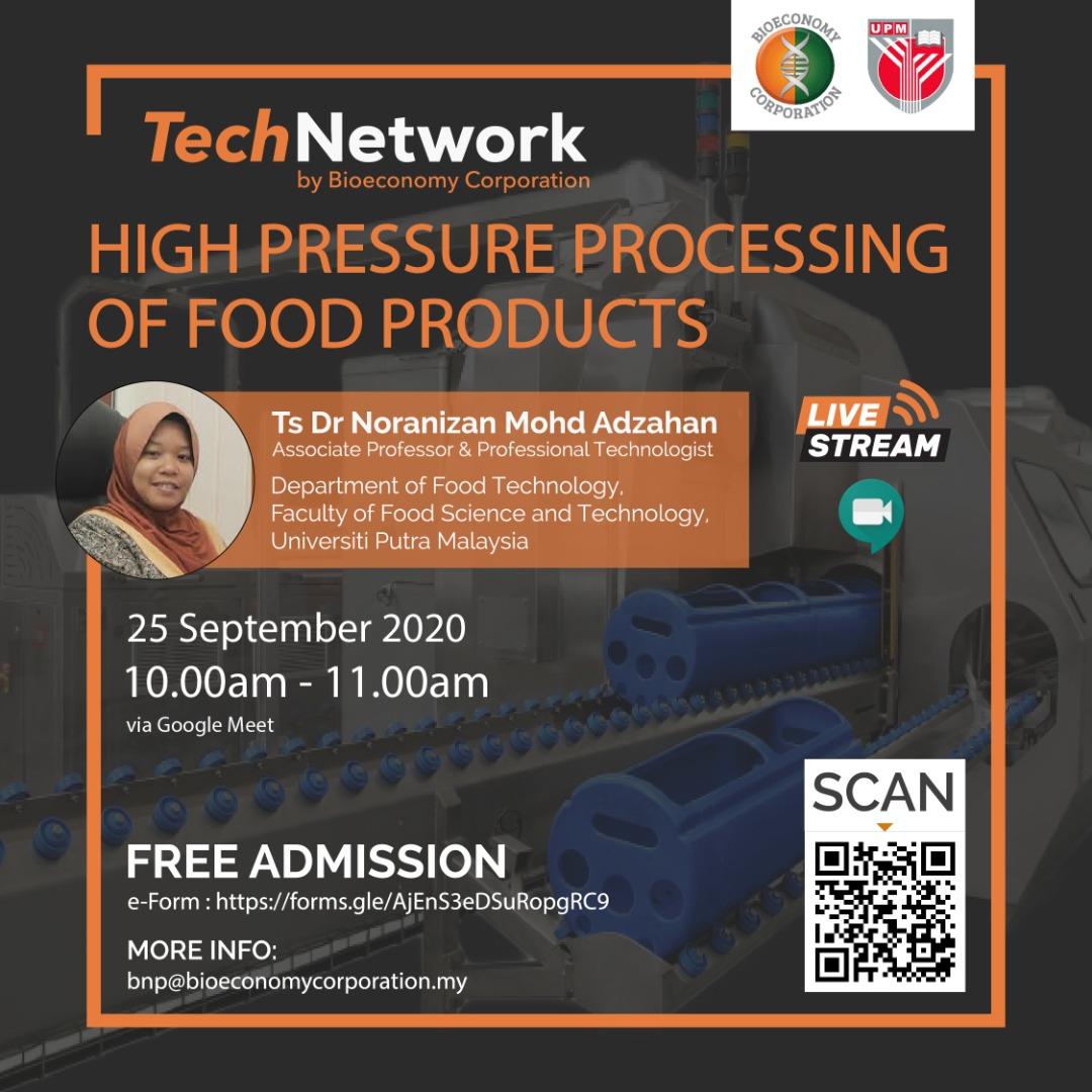 In Malaysia, High pressure processing (HPP) is at the infancy stage. This session will provide an overview of HPP & its potential in the food industry in Malaysia.   To join the TechNetwork program on Google Meet, register now at https://t.co/LwyabgOmLp! https://t.co/cLratggZJq