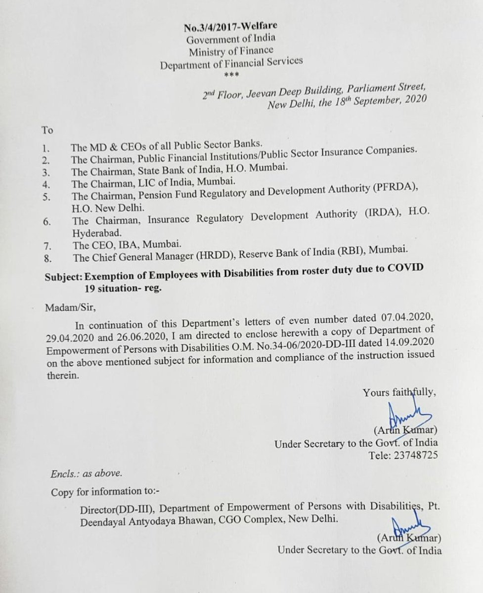 Dept. of Financial Services has issued a fresh circular to Public Sector Fin. Institutions reg. exemption of employees with disabilities from roster duties due to #COVID situations on 18-Sept-2020 on the basis of a reference of #DEPwD conveying clarification of DoPT. @TCGEHLOT https://t.co/oVaDykq7bE