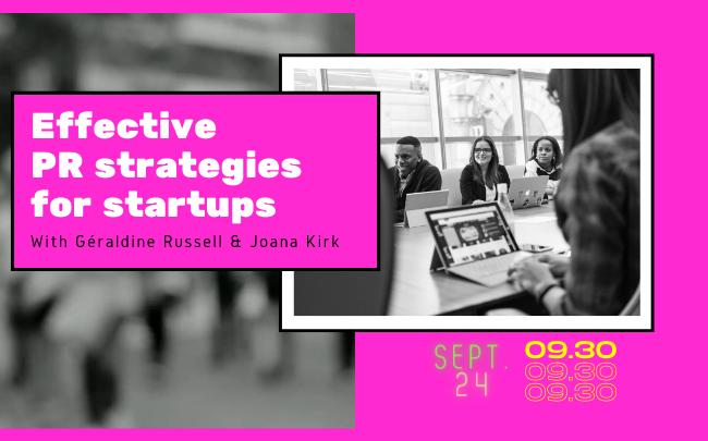 📢 Evénement ce jeudi, 24 septembre 📢 Participez à notre #webinar sur les stratégies de relations publiques efficaces pour les start-ups. 🔥 Les conférencières invitées sont @Ge_Russell de @bymaddyness et @joakirk fondatrice of JKPR! 💪 Cliquez-ici 👇 ow.ly/51uD50Bq8Mg