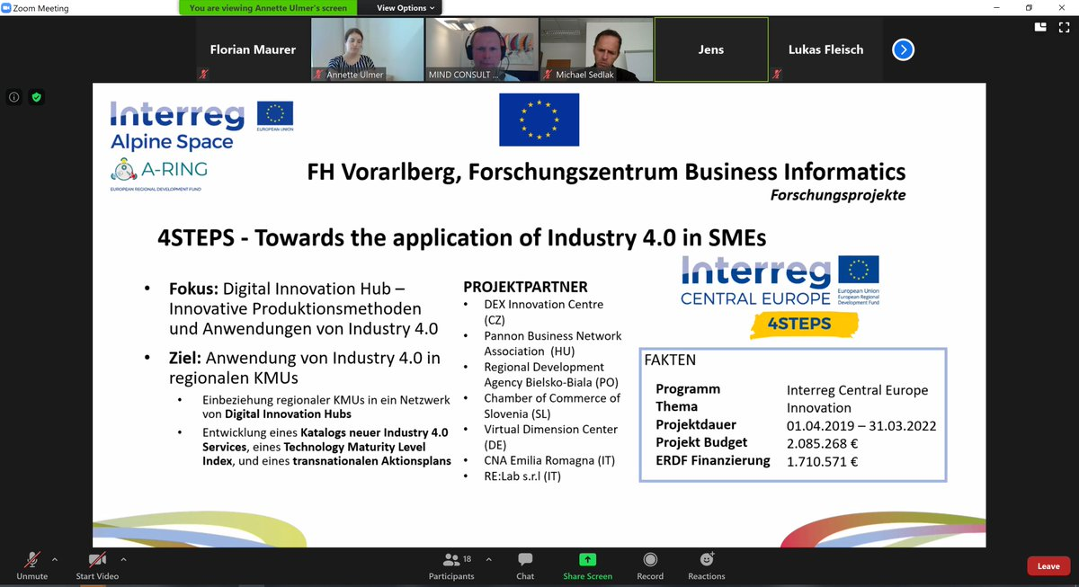 Week ago today we presented 4STEPS on A-Ring's Interregional Workshop Burgenland – Vorarlberg. #4steps #industry4 #digitalization #cooperationiscentral #Interreg #aring https://t.co/FQ0a9kOuX8