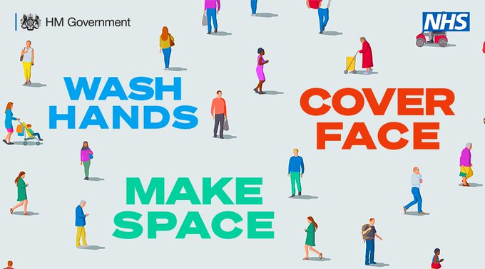 Let's keep on protecting each other by:  🧼 Washing our hands regularly for 20 seconds. 😷 Wearing a face covering in enclosed spaces. ↔️ Making space from people we don't live with.   For more guidance:  https://t.co/vZvkU18g1i  #HandsFaceSpace https://t.co/RxDfzPNfAN