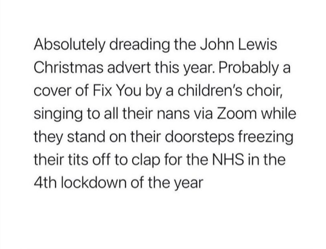 Couldnt resist 😏 #lockdown #christmas2020 #johnlewis #clapforcarers #pleasedontclap #lockdownnumber20000000 https://t.co/ZbZGwbki3V