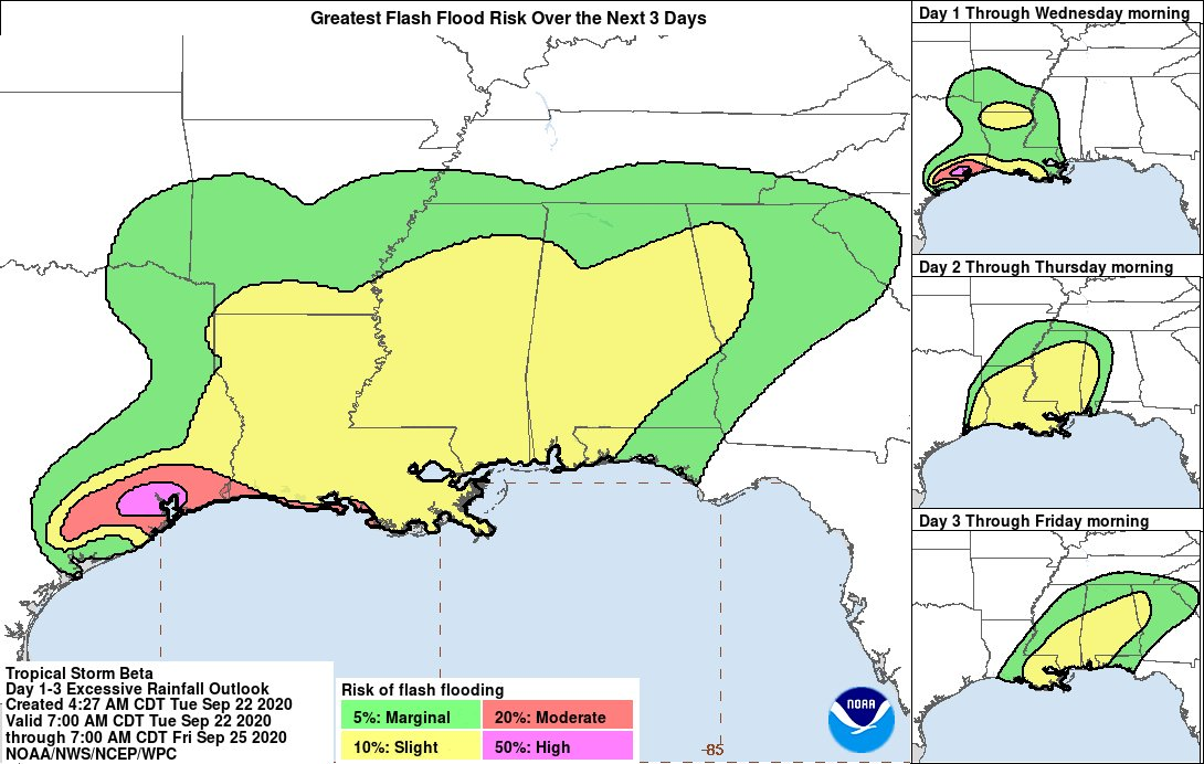 A 🚨High Risk🚨 of excessive rainfall is in effect today across portions of the Upper Texas Coast (including the Houston metro area). Additional heavy rain across regions that have already seen 7 to 10 inches of rain will likely lead to flash flooding. #TXwx #TurnAroundDontDrown https://t.co/kxr55XHxpK