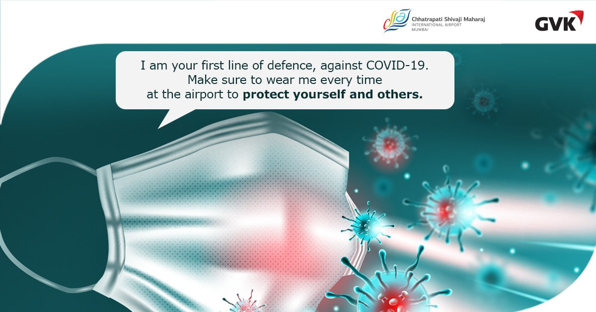 At CSMIA, we want to make sure that you travel safe.  And that's why it is important for you to wear the mask every time to safeguard yourself and others in the pandemic. #WeCare #SafetyFirst #SafeJourney #CSMIA #MumbaiAirport https://t.co/4cyRpr7n6k