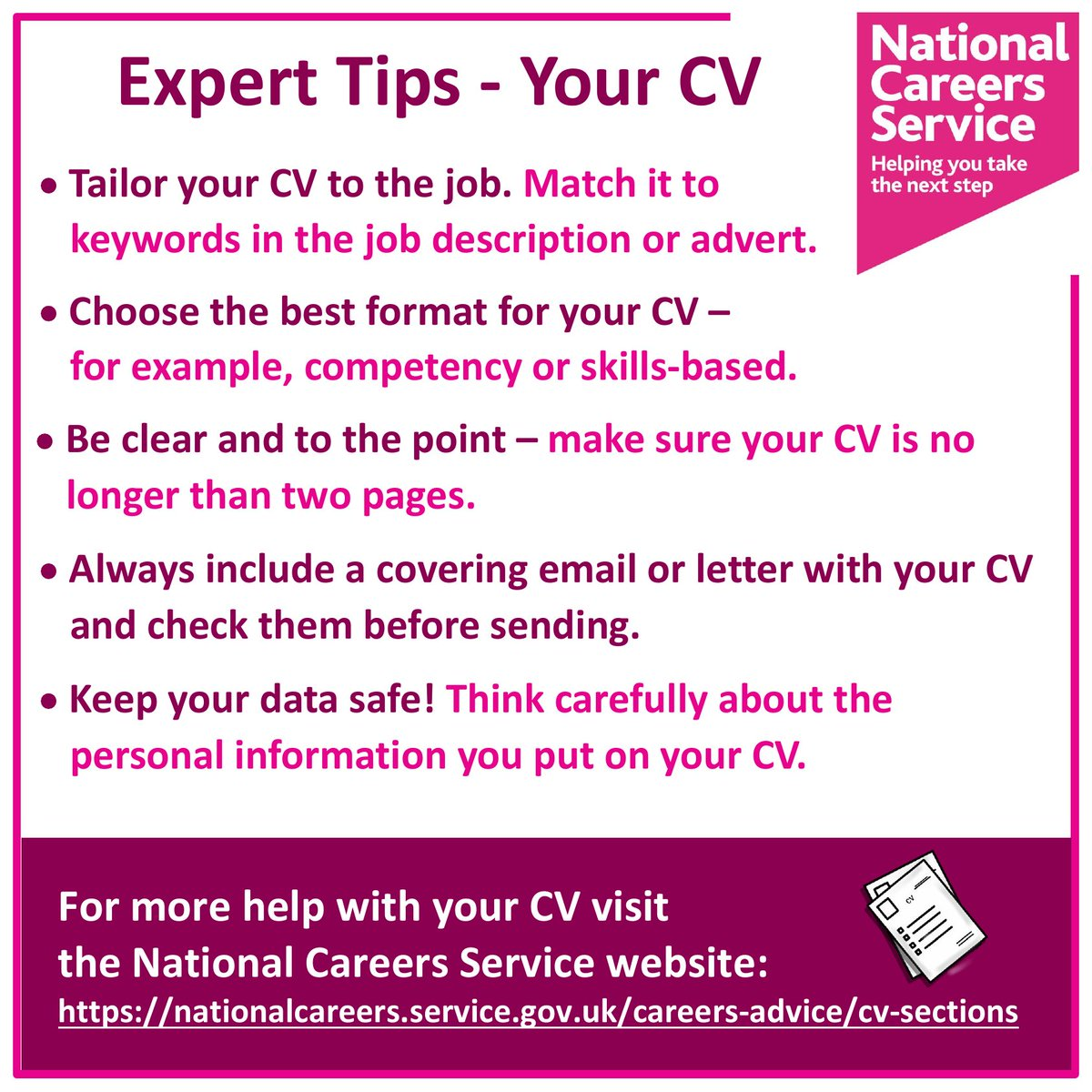 Do you need help with creating a winning #CV? Take a look at our expert tips for your CV.  For more help with your CV visit the National Careers Service website: https://t.co/vu1TAk6uzU  #UKWeekendHour #cvtips #cvhelp #SundayMotivation #Staffordshire #Sandwell @JCPInTheBC https://t.co/bhNYuCw1Dq
