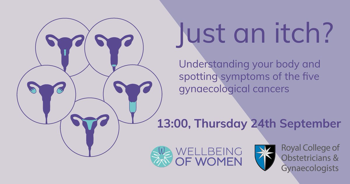 Do you know the symptoms of the five gynaecological cancers? Join this free @WellbeingofWmen webinar on Thursday 24 September to find out the well-known and not-so-well-known symptoms.  Register here: https://t.co/KMmYmz37gm https://t.co/RQ6gOrkRCv