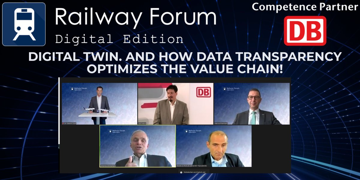 """Wasting energy can be avoided with a #DigitalTwin!""  The participants of the Railway Forum Digital Edition 2020 know how Deutsche Bahn @DB_Presse , @SiemensMobility, @SchaefflerGroup  and @lufthansa technik are achieving this!  Thank you for sharing your knowledge! https://t.co/klJVvx9Gnv"