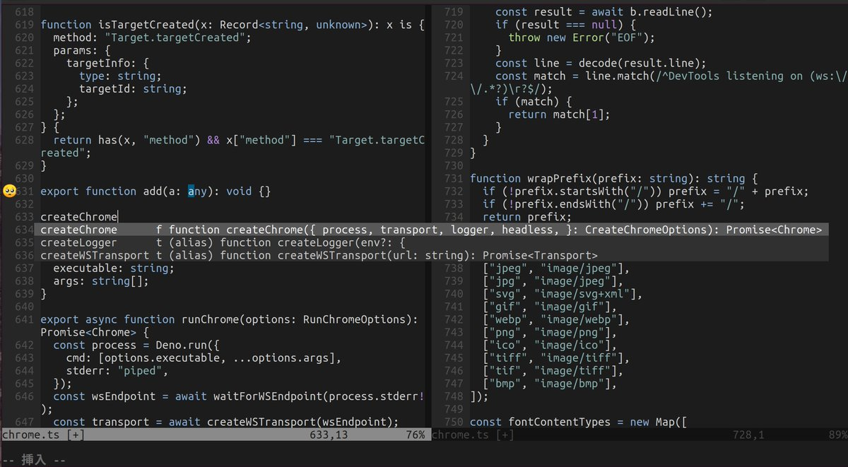 Vimでdenoの開発をするためのプラグインを作っています。まだまだ荒削りの段階ですが、ひとまずNeovim+ALE+typescript-deno-pluginを使って、自動補完やLinterの非同期実行ができるようになった🦕#denoland