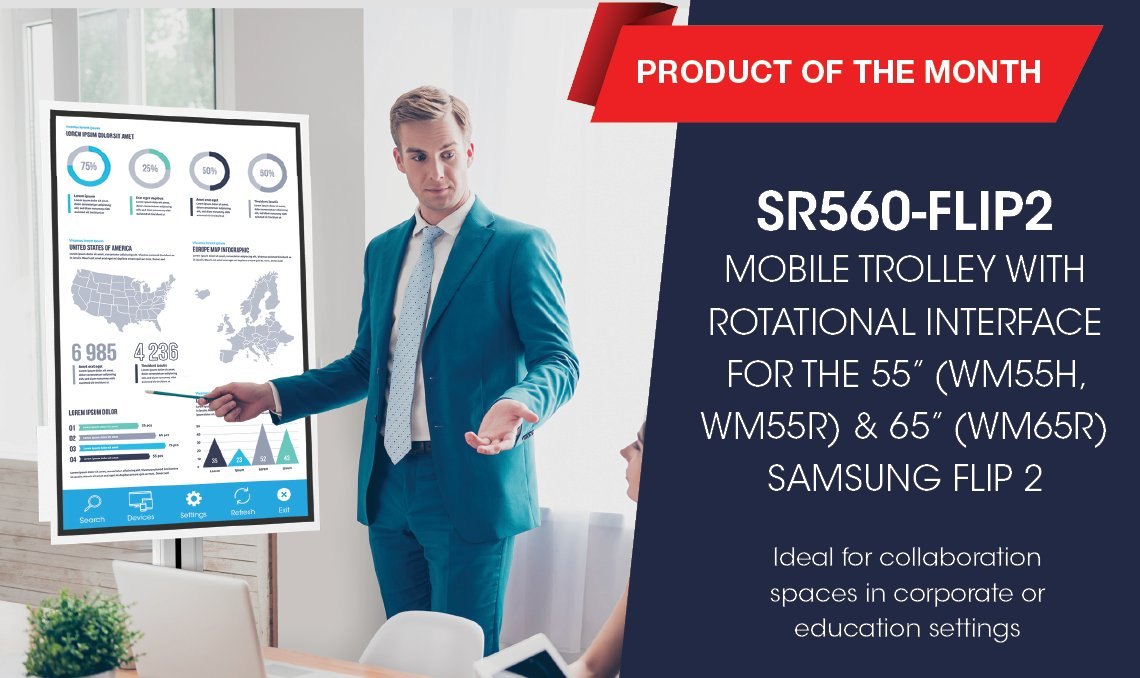 "Introducing our Product of the Month: the SR560-FLIP2 Mobile Trolley with Rotational Interface for the 55"" & 65"" Samsung Flip 2. RMI3-FLIP2 Rotational Wall Mount also available. Find out more: https://t.co/khMLQN5iUZ / https://t.co/8DlRrunxt6 #avtweeps #collaboration #interactive https://t.co/UHaotaxFBK"