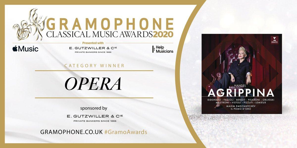 The Opera category (sponsored by E Gutzwiller et Cie, Private Bankers) goes to Handel's Agrippina on the Erato label, features a star-studded cast such as @JoyceDiDonato, @ElsaBenoitSopra, @lucapisaroni, @FContratenor & Jakub Józef Orliński #GramoAwards https://t.co/1jAO6kWr7P https://t.co/WBbIsMT52I