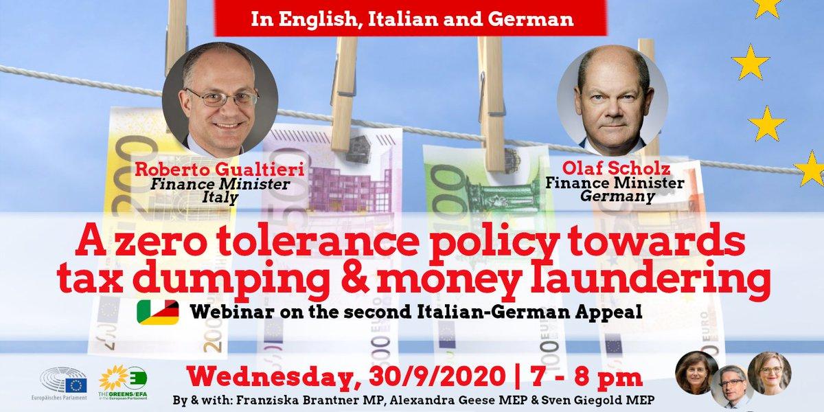 """📢Neues Webinar """"Nulltoleranz-Politik bei Steuerdumping & Geldwäsche"""" mit 🇮🇹 & 🇩🇪Finanzminister @gualtierieurope und @OlafScholz 📌Mi, 30.9. 19-20 Uhr  Hier anmelden!👇https://t.co/gpgy7RTQYY  Das Webinar wird in 🇬🇧, 🇮🇹 und 🇩🇪 simultan übersetzt. #WeAreInThisTogether https://t.co/nf3dMMh69t"""
