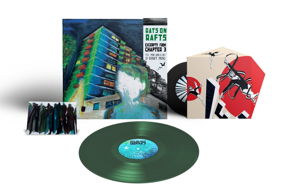 """#DinkedEdition 71 @RatsOnRafts Excerpts From Chapter 3: The Mind Runs A Net Of Rabbit Paths due 29.01.21 via @firerecordings dinkededition.co.uk/rats-on-rafts-… • Green LP, deluxe origami sleeve* • 7"""", origami sleeve, exclusive b-side* • OBI strip* • LTD to 400 * Dinked Exclusive"""