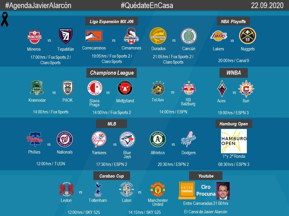 #AgendaJavierAlarcon   #LigaBBVAExpansionMX #NBAPlayoffs #UCL #WNBA #MLB #HamburgOpen #CarabaoCup #EntreCamaradas https://t.co/spRLea0Vde