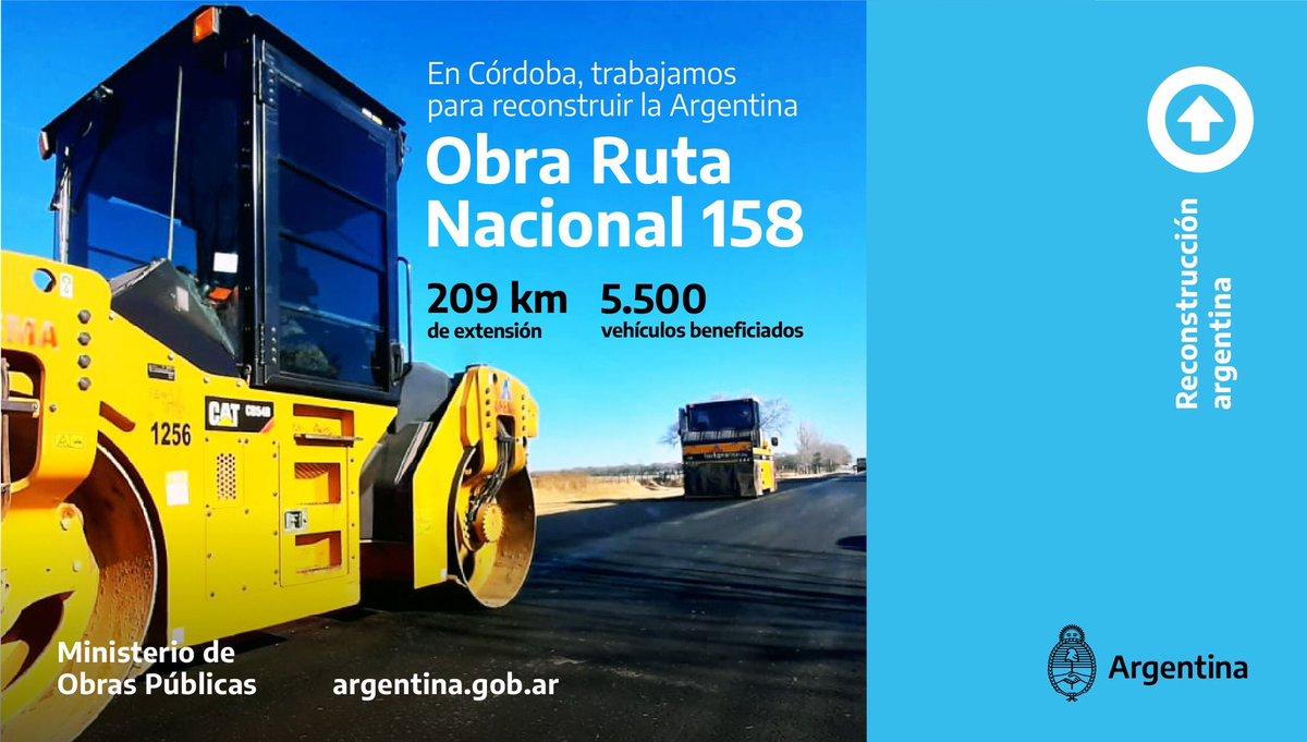 📍Córdoba: Ruta Nacional 158  Reactivamos los trabajos de recuperación y mantenimiento en este corredor productivo clave de la provincia y la región, que es utilizado para el transporte de productos de la actividad agraria y cerealera.   #ReconstrucciónArgentina #ArgentinaUnida https://t.co/tqNHqVPZ7u