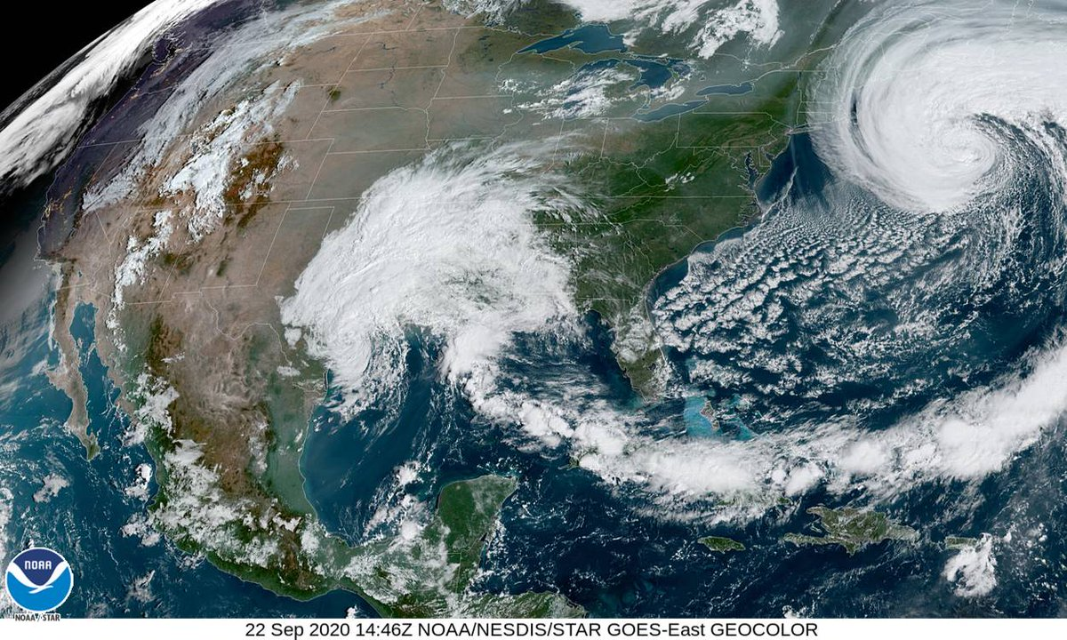 Impressive satellite imagery of Hurricane Teddy in the northern Atlantic and Tropical Depression Beta just along the TX coast.   For information on potential flooding impacts from #Beta, please visit: https://t.co/aypwjmpVBG For additional information: https://t.co/pyol8aO16N https://t.co/XUJcr9sC4U
