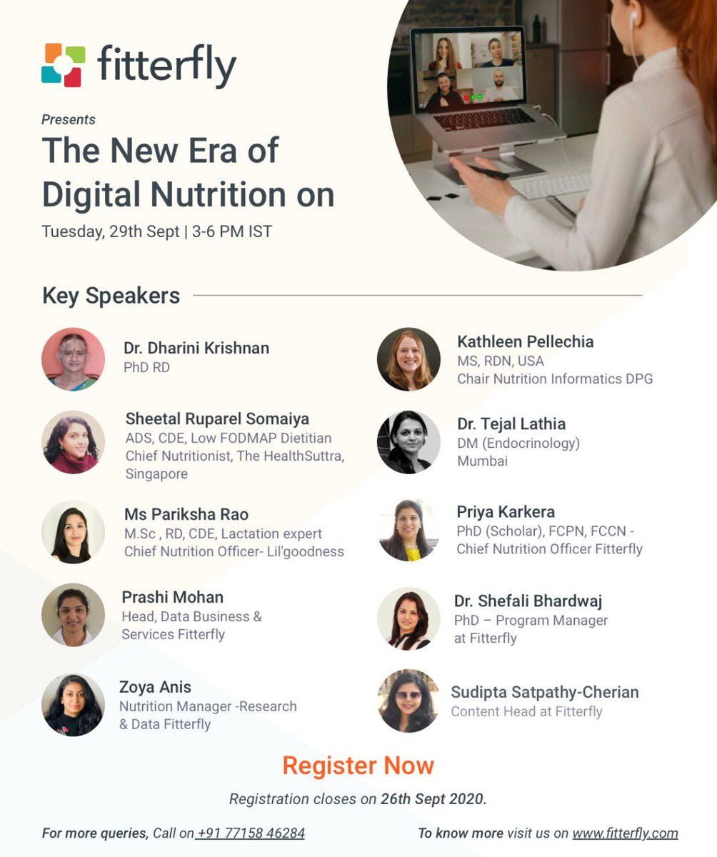 The new era of Digital Nutrition webinar organised by @Fitter_Fly. To know more and register please visit https://t.co/4x6AFb60hh #nutrition #NutritionMonth #digitalhealth #digitaltherapeutics #HealthTech @dietitianpriya @arbinder_singal https://t.co/YBXgGmRZTT