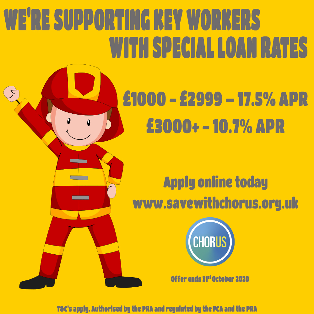 Anyone working for East Sussex Fire & Rescue Service can join Chorus and apply for our Keyworker loans at preferential rates. Offer ends 31st Oct. Loans from 10.7%APR. #esfrs #chorus #creditunion https://t.co/pG6aCiaX49 https://t.co/KbcjVt8G4j