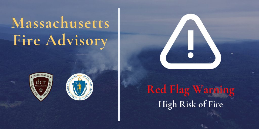 Today @NWS has issued a Red Flag Warning for fire weather conditions in Massachusetts through 9 p.m. Tuesday.  Residents should make sure to:  ✅ Take extra care with smoking materials  ✅ Use extreme caution with open flames   #FireSafety #SafetyFirst  https://t.co/eLfhJ7Yc5B https://t.co/zVkuDNBMjY