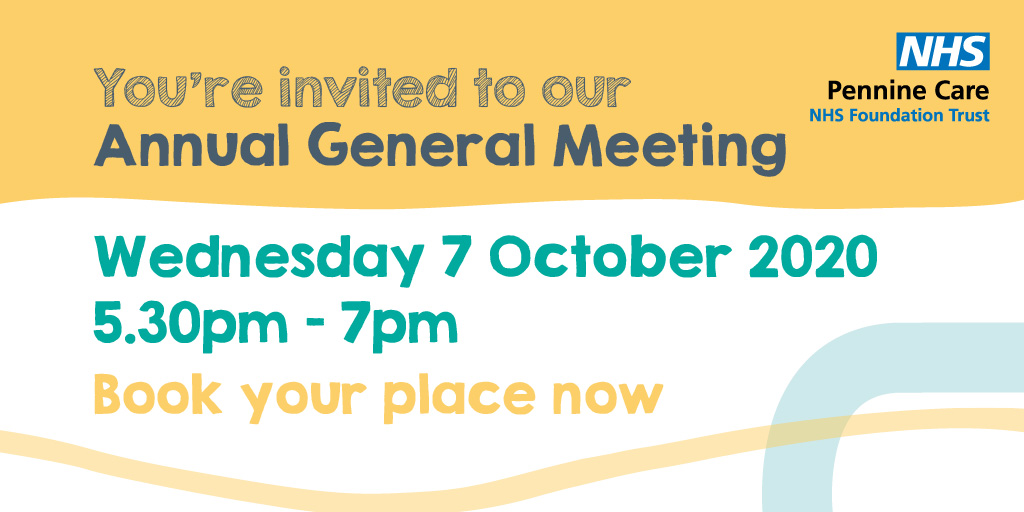 We hope you can join us for our online annual general meeting:  📆 Wed 7 October 🕠 5.30-7pm  We'll be sharing our 5 year plan, a review of the year, patient story, and you'll have chance to ask questions at the end.  Book your place at: https://t.co/ZM3WvrP61d  #PennineCareAGM https://t.co/oPYaJvsmyP
