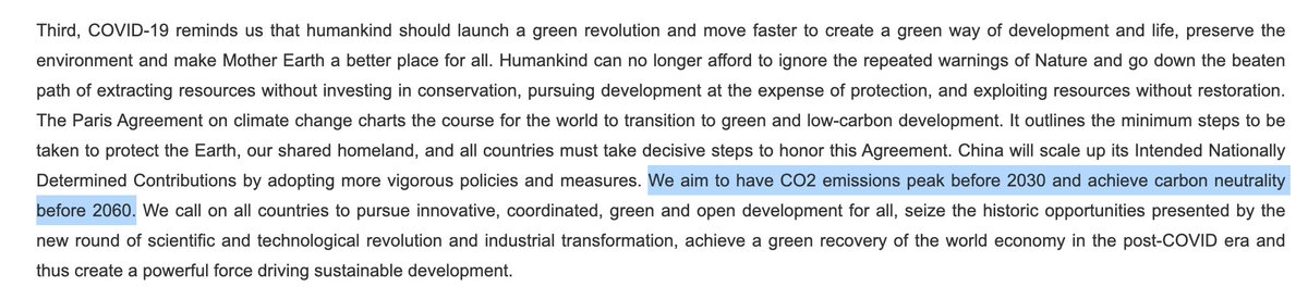 "Yeah so this is huge  ""We aim to have CO2 emissions peak before 2030 and achieve carbon neutrality before 2060.""  Official translation of statement by China's President Xi Jinping to the UN general assembly  https://t.co/kHH9r9yg4S https://t.co/Wxc4RqF2XN"
